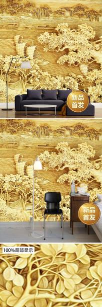 金色一帆风顺木雕电视背景墙