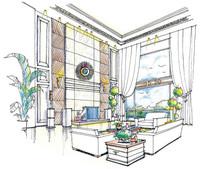 客厅彩铅手绘效果图 JPG