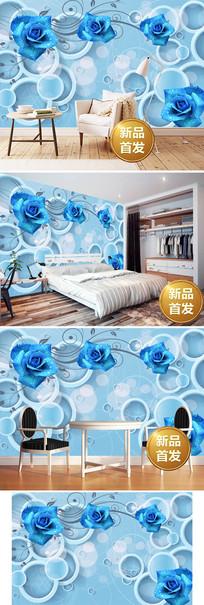 蓝玫瑰3D电视背景墙