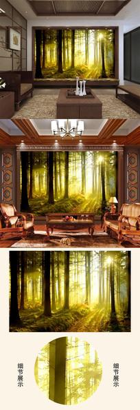 梦幻意境森林装饰画电视背景墙
