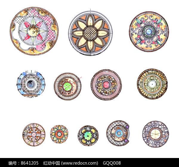 原创设计稿 方案意向 手绘素材 手绘圆形广场铺装平面分层素材