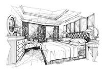 卧室设计手绘线稿 JPG