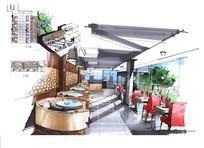 现代餐厅方案设计手绘效果图