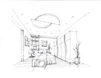 小型卧室钢笔手绘线稿 JPG