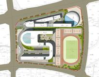 校园建筑方案彩色总平面图