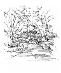 园林小路手绘表现