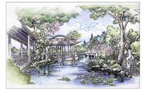 中式古典园林手绘