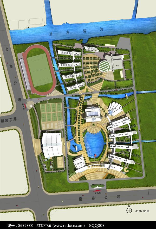 中学校园景观规划总平面图图片