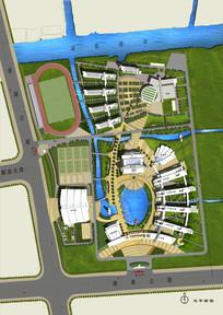 中学校园景观规划总平面图