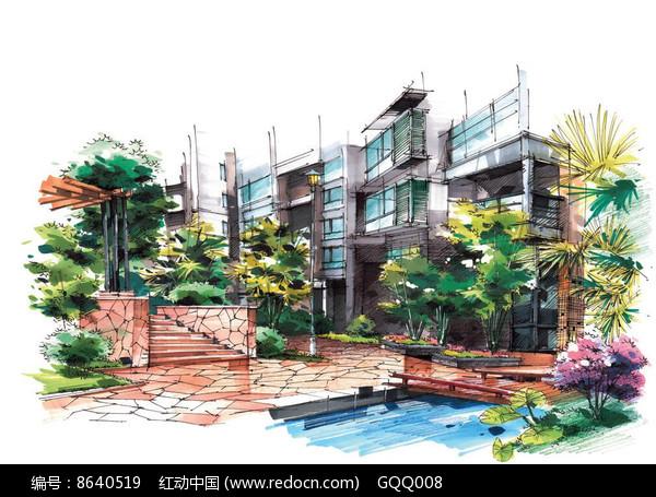 住宅区景观手绘效果图图片