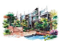 住宅区景观手绘效果图