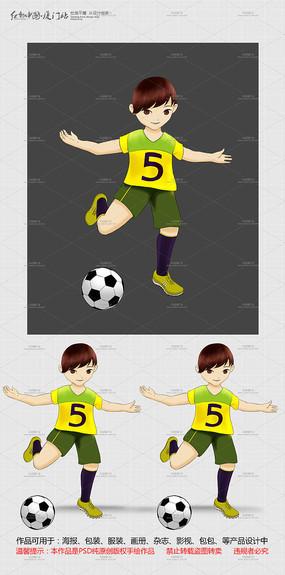足球人物卡通素材 PSD