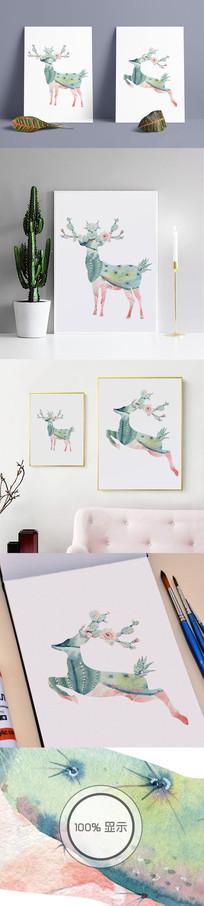 北欧清新麋鹿田园装饰无框画