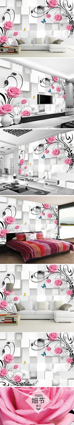 粉红玫瑰花客厅电视背景墙