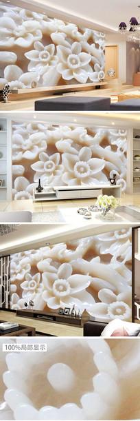高清玉雕花朵梅花玫瑰背景墙