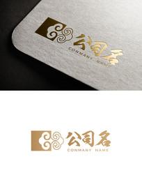 古典花纹布艺装饰企业logo