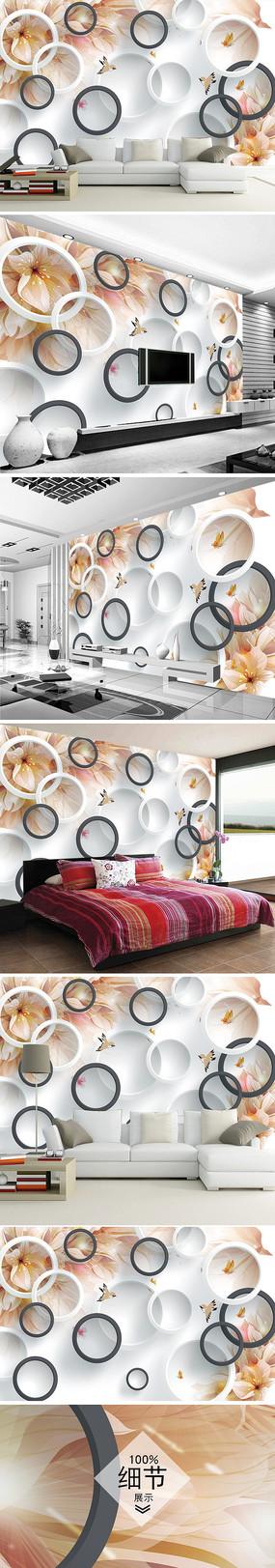 梦幻花朵花卉电视背景墙