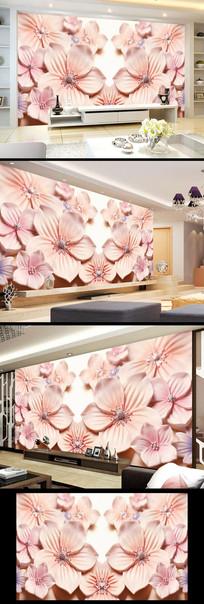 玉雕粉色花朵立体壁画背景墙