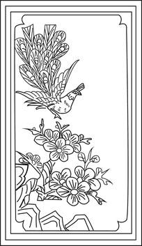 孔雀与梅花雕刻图案