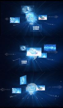 蓝色科技地球图文照片AE模版
