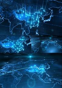 蓝色科技中国地图连线AE模版