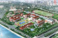 欧式校园建筑设计鸟瞰图 JPG