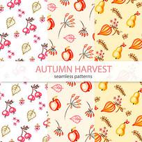 树叶和水果印花图案素材
