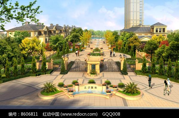 别墅区入口大门景观图片