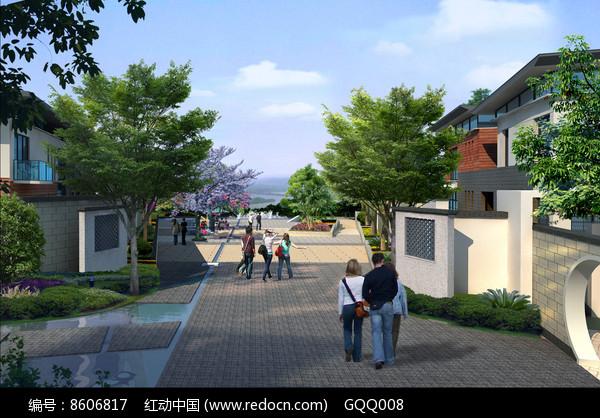别墅区入口景观图片