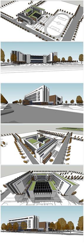超精细中式教学楼建筑SU模型
