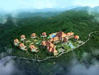 度假酒店整体鸟瞰图