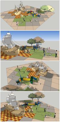 儿童活动区概念-小品船模型 skp