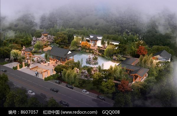 古典园林设计鸟瞰图图片