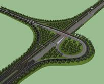 含公路护栏的高速公路 skp