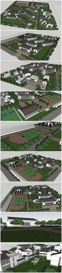 某小学规划整体设计SU模型