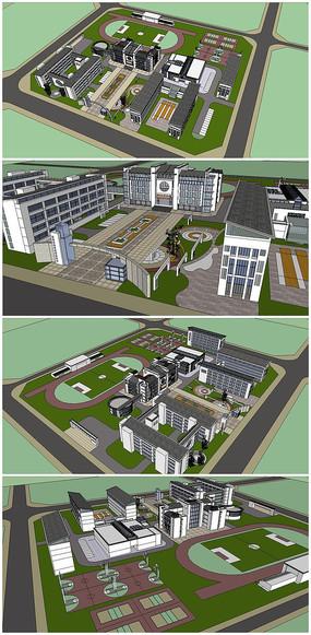 某中学校园整体规划SU模型 skp