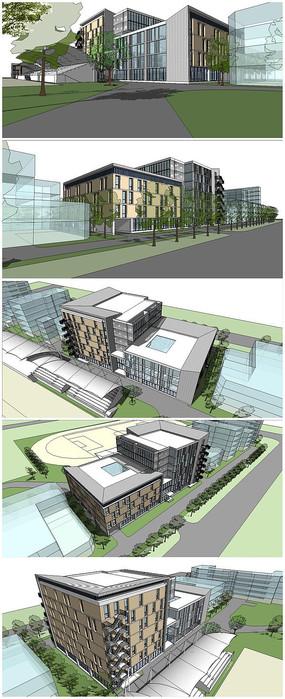 某中学综合楼建筑SU模型