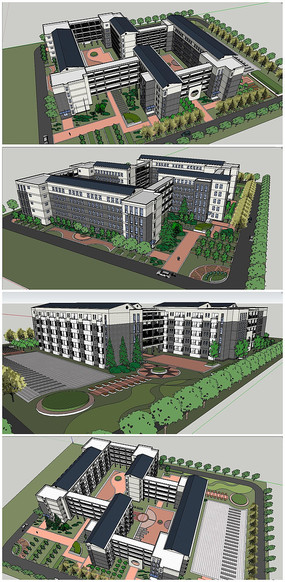 宿舍建筑整体方案SU模型