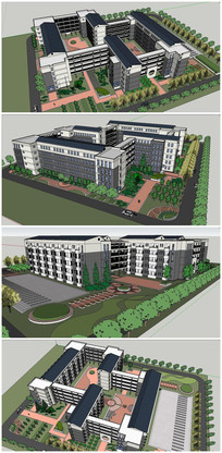 宿舍建筑整体方案SU模型 skp