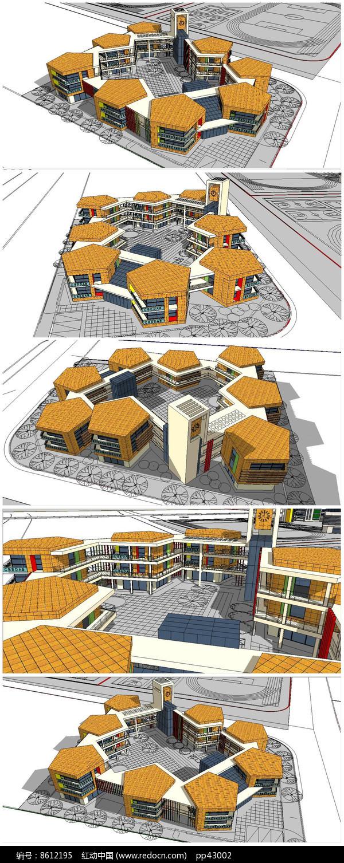 特色小学建筑SU模型图片