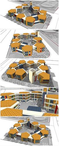 特色小学建筑SU模型