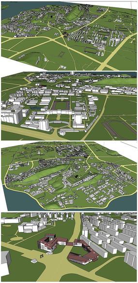 武汉大学整体规划模型SU模型 skp