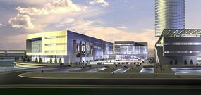 西湖文化广场黄昏表现图