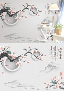新中式雅室兰香花鸟电视背景墙