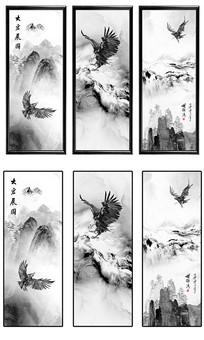 新中式鹰击长空抽象山水装饰画