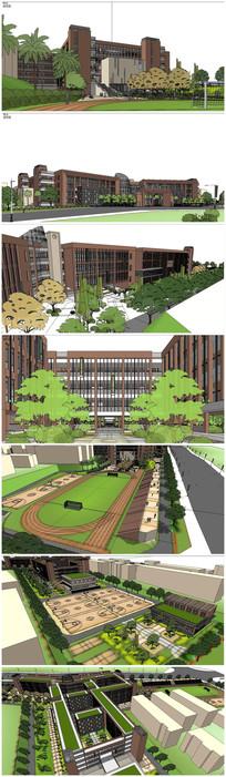 学校整体规划SU模型 skp