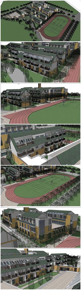 学校整体规划鸟瞰SU模型