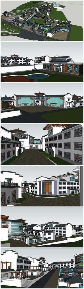 中式风格学校SU模型