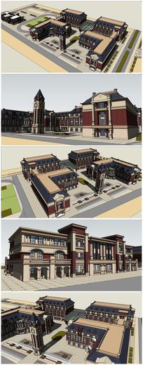 中小学建筑SU模型