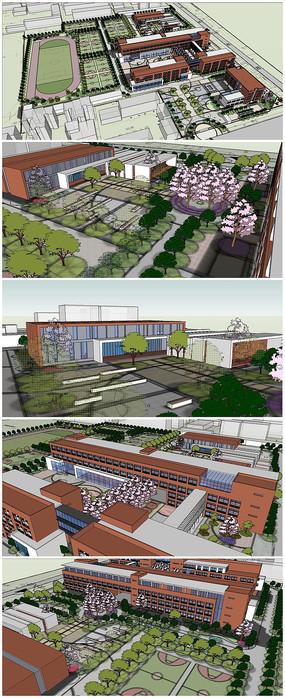 中学建筑规划SU模型